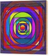 Circles And Squares Abstract Wood Print