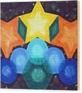 Circles And Stars Wood Print