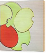 Circles Of Red, Yellow And Green Wood Print