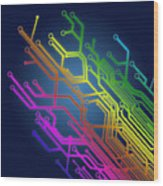 Circuit Board Wood Print by Setsiri Silapasuwanchai