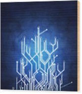Circuit Board Technology Wood Print by Setsiri Silapasuwanchai