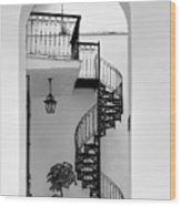 Circular Staircase In Black And White Wood Print