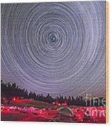Circumpolar Star Trails Above The Table Wood Print