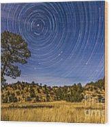 Circumpolar Star Trails Over Mimbres Wood Print