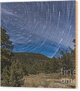 Circumpolar Star Trails Over The Gila Wood Print