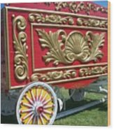 Circus Car In Red And Gold Wood Print