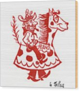 Circus Cowboy Wood Print by Barry Nelles Art