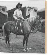Circus Cowboy On Horse Wood Print