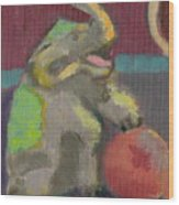Circus Elephant With Ball Wood Print