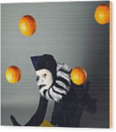 Circus Fashion Mime Juggles With Five Oranges. Photo. Wood Print by Kireev Art