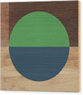 Cirkel Blue And Green- Art By Linda Woods Wood Print