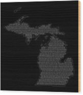 Cities And Towns In Michigan White Wood Print