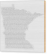 Cities And Towns In Minnesota Black Wood Print