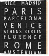 Cities Of Europe Wood Print