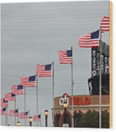 Citifield And American Flags Wood Print