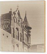 Citizens Bank Sepia Wood Print