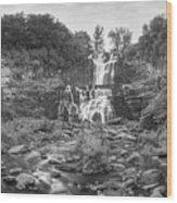 Cittenango Falls Tilt Shift Panorama Bw Wood Print