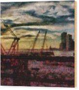 City - Ny - Overlooking The Hudson Wood Print