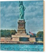 City - Ny - The Statue Of Liberty Wood Print