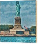 City - Ny - The Statue Of Liberty Wood Print