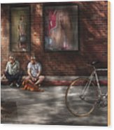 City - Ny - Two Guys And A Dog Wood Print