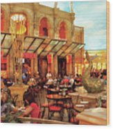 City - Vegas - Cesar's - Lunch In Italy Wood Print