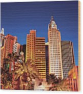 City - Vegas - Ny - The New York Hotel Wood Print