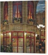 City - Vegas - Paris - Le Cafe Wood Print
