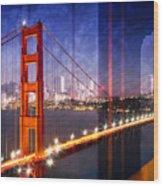 City Art Golden Gate Bridge Composing Wood Print
