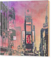 City-art Ny Times Square Wood Print