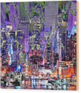 City Art Syncopation Cityscape Wood Print