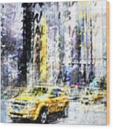 City-art Times Square Streetscene Wood Print