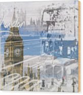 City Art Westminster Collage Wood Print