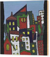 City At Christmas Wood Print