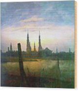 City At Moonrise Wood Print