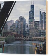City At The Waterfront, Chicago River Wood Print