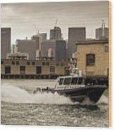 City Bay Police Boat - Color  Wood Print