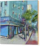 City Blue Wood Print