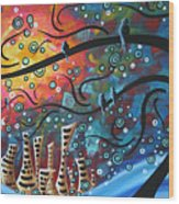 City By The Sea By Madart Wood Print by Megan Duncanson