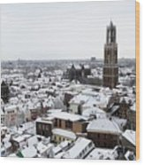 City Centre Of Utrecht With The Dom Tower In Winter Wood Print