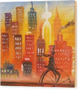 City Cycle In The Warm Evening Wood Print