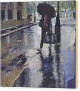 City Evening Rain Wood Print