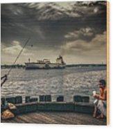 City Fishing Wood Print