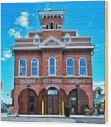 City Hall And Fire Department Wood Print