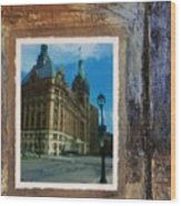 City Hall And Street Lamp Wood Print