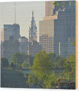 City Hall From The Schuylkill River Wood Print