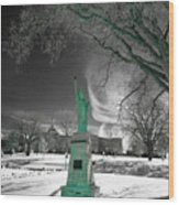 City High Statue Wood Print