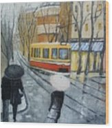 City In Rain Wood Print