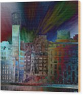 City In Transmission Wood Print