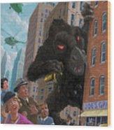 City Invasion Furry Monster Wood Print